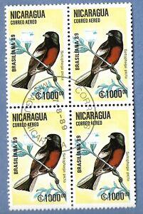 BIRDS 1989 BLOCK OF 4 FROM NACARAGUA
