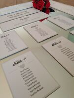 Personalised Glitter 3D Heart Wedding Table Seating Plan Cards Individual DIY
