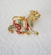 Joan Rivers Lion Pin Brooch - Enamel and Gold Tone RARE