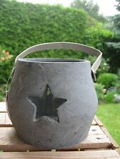 """Shabby Laterne """"Stern"""" aus Beton Windlicht Handarbeit Garten Deko Vintage"""