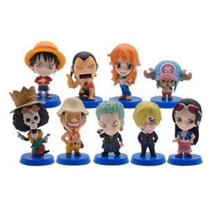 9Pcs One Piece Luffy Zoro Sanji Boa Nami Brook Franky Usopp Figure Cake Topper