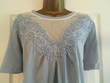 BNWT NEXT Blue Short Sleeved Embroidered Floral Top Size 20