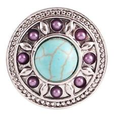 Round Turquoise & Beads Silver Plated 20MM Snap Button Interchangable Charm NEW