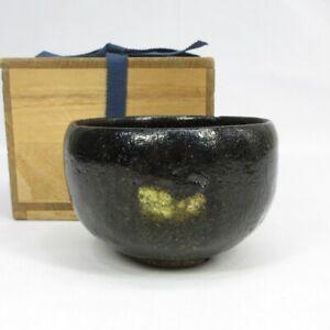 C476: Japanese tea bowl of very old KURO-RAKU pottery with great atmosphere.