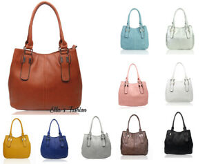New Womens Silver Buckled Large Handle Roomy Tote Shopper Bag Shoulder Handbag