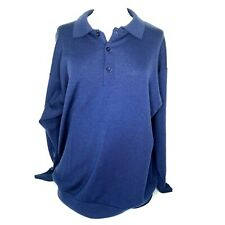 Pringle Of Scotland Lambswool Pullover 1/4 Button Blue Longsleeve Men's Large
