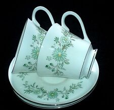 AYNSLEY EMERALD ISLE 184 Green Flower/Silver Patt Cup + Saucer Sets x2 (5 avail)