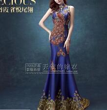 Blue Phoenix gem wedding bride dress for dinner will host fishtail wedding dress