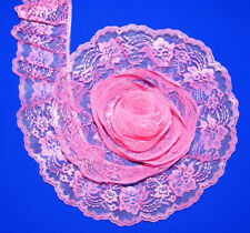 SACHET PINK~4 Inch Wide Ruffled Floral Lace Trim~By 5 Yards
