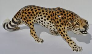 Grosser Original Ronzan Gepard Leopard Porzellanfigur 1530 Porzellan Figur 54cm
