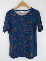LuLaRoe Women's MULTI Gigi Top Medium T Shirt Tee Blue Pink Yellow LLR Stretch