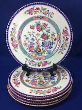 Cauldon China Indian Tree Motif Dinner Plates Pink and Blue Flowers Set of 5