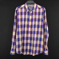 Men Robert Graham Classic Fit Blue Plaid Flip Cuff Designer Dress Shirt Size XL