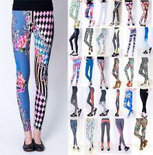 Damen Leggings Sport Yoga Pants High Waist Bunt Motiv Animal Print Glanz Stretch