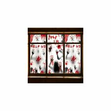 More details for halloween window decorations zombie posters - 3 pcs giant bloody handprints zomb