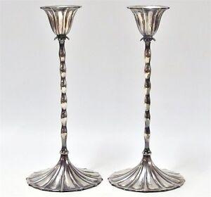Rare American Art Deco REED & BARTON STERLING Silver 925 Candlesticks Date 1928