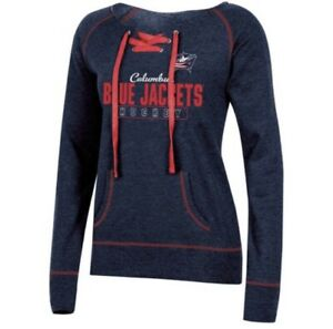 NHL Small Columbus Blue Jackets Women's Center Ice Open Neck Fleece Sweatshirt