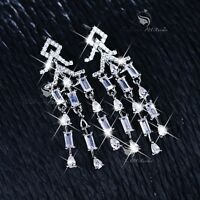 18k white gold gf made with SWAROVSKI CZ crystal dangle tassel earrings wedding
