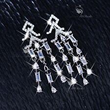 18k white gold gf made with SWAROVSKI CZ crystal dangle tassel earrings wedding