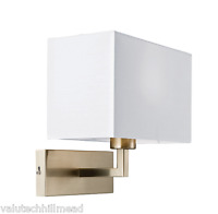 Endon Lighting Piccolo 1 Light Wall Light in Satin Nickel w/ White Shade