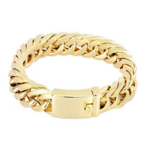Men 18K Gold Plated Jewelry Curb Cuban Link Chain Bracelet Punk Wristband Bangle
