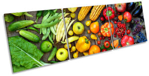 Fruit & Vegetables Kitchen Print CANVAS WALL ART Triple Picture Multi-Coloured