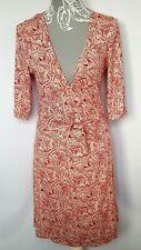 AWEAR Wrap Dress UK 10 Red & White Striped Leaf Print Stretch Jersey Festival