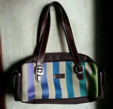 LONGCHAMP LIMITED ED. MULTICOLORED CANVAS AND LEATHER BAG-BROWN STRIPES,Medium