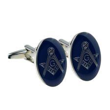 Rhodium Plated Blue Oval Masonic Mens Cufflinks Cuff Links Gift (With G)