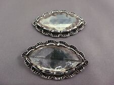 Vintage SHOE CLIPs silver tone Large clear glass stone