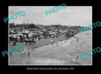 OLD POSTCARD SIZE PHOTO HENLEY BEACH SOUTH AUSTRALIA VIEW OF THE BEACH c1907