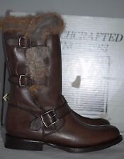 NIB FRYE Jamie Lux Moto Rabbit Fur-Trimmed Leather Mid-Calf Boot Shoes 8 US/ 39