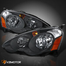 2002-2004 Acura RSX Black Housing Clear Lens Retro Style Projector Headlights