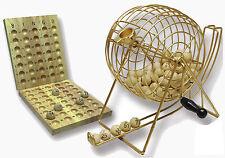 Bingo-Mühle XXL Bingospiel Lostrommel Lottospiel Metallkorb 75 Holzkugeln Lotto