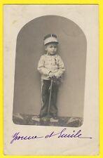 cpa Carte Photo ENFANT en UNIFORME 4e Régiment Sabre BELGIQUE Emile BODART 1906