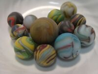 12 Beach Style Sea Glass Multicolor Swirl Marbles Sandstorm Super Colorful Group