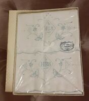 Vintage/New In Box/OSAGE Blue Embroidered Spokework His & Hers Pillowcases/NICE!