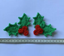 2 Pairs of Holly Leaves w/Sparkly Berries Crochet Applique/ Embellishment/ Motif
