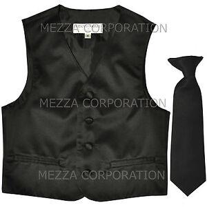 New Kids Boys Formal Tuxedo Vest Necktie Black US Sizes 2-14 Wedding Party