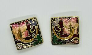 Cloisonne Clip Earrings Colors of wine, pink Flower, blue, green, gold Gold Tone