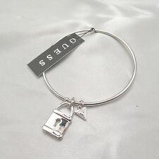 Guess Lock Charm Silver Tone Bangle Bracelet NWT