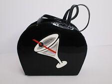 Retro Black Patent Leather Cocktail Handbag Purse Martini Cookie Puss H3