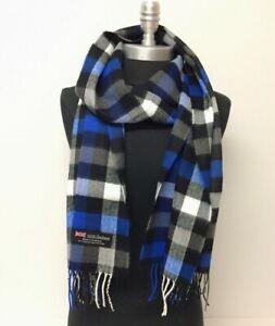 Men Women CASHMERE SCARF SCOTLAND Wool Wrap Plaid Check Blue Black White #C20