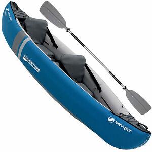 Sevylor Adventure Kajak Kit Set Kayak Boot aufblasbar Kanu Freizeitkajak Blau
