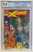 CGC 9.4 X-Force #1 REVERSE CAPTAIN AMERICA HEAD, Shatterstar card and bag