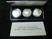 1994 US Veterans Commemorative 3 Piece Proof Silver Dollar Set