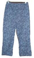 Ann Taylor Loft size 6 womens cropped capri pants blue floral pattern stretch
