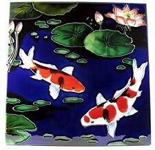KOI Fish Asian Art Tile ☆ Koi ☆ 12x12 Ceramic Wall Shelf Office Home Decor Gift