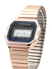 Classic Watch Digital LCD Display Retro 80s Vintage Alarm Expandable Bracelet