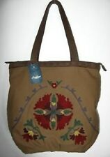 Lucky Brand Womens Camel Floral Embroidered Canvas Bag #HKPU1205 NWOT